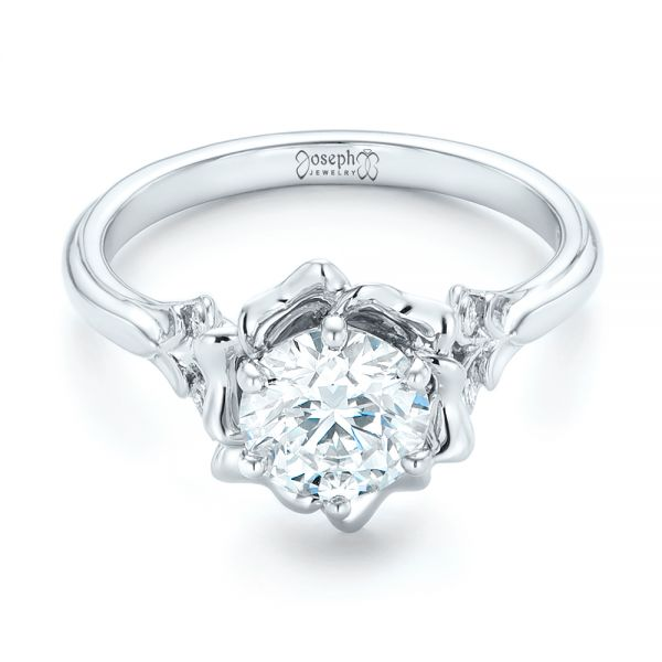 Platinum Custom Diamond Engagement Ring - Flat View -  102896