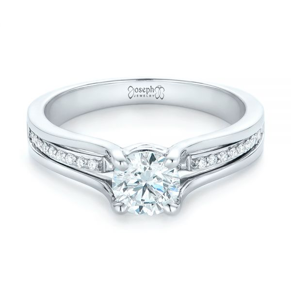 18k White Gold Custom Diamond Engagement Ring - Flat View -