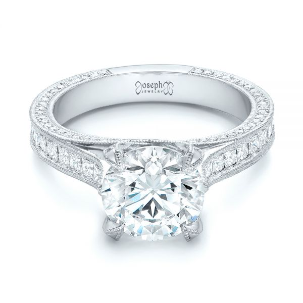 Platinum Custom Diamond Engagement Ring - Flat View -