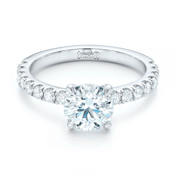 Custom Diamond Engagement Ring - Flat View -  103235 - Thumbnail