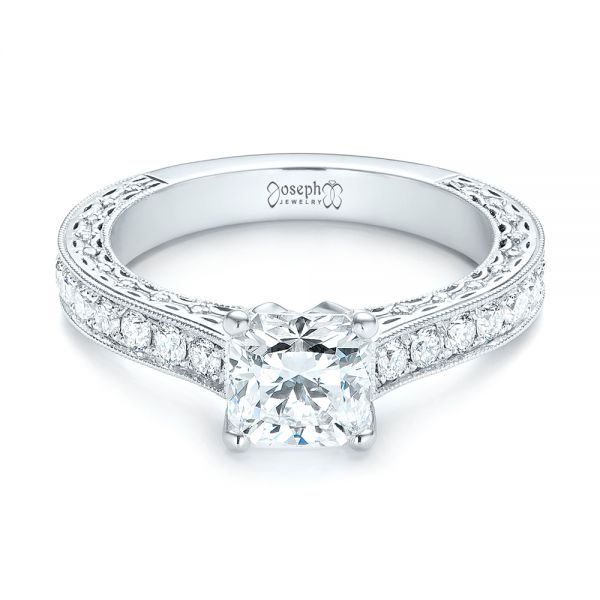 18k White Gold Custom Diamond Engagement Ring - Flat View -  103303