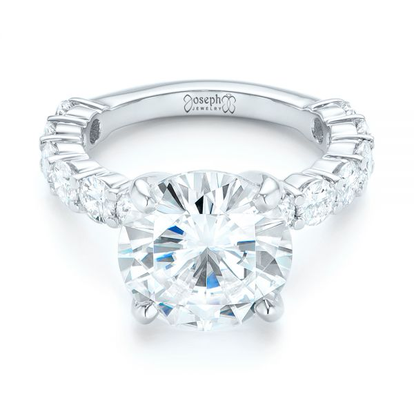 14k White Gold Custom Diamond Engagement Ring - Flat View -