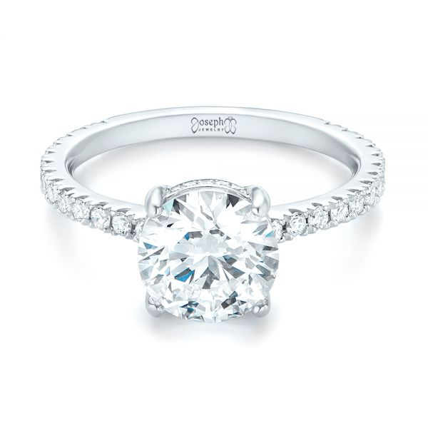 Custom Diamond Engagement Ring - Flat View -  103369 - Thumbnail