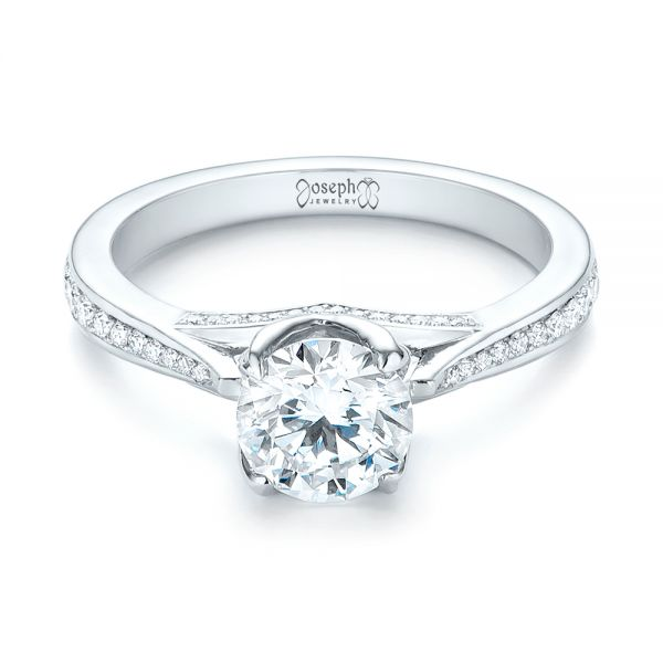 Custom Diamond Engagement Ring - Flat View -  103464 - Thumbnail