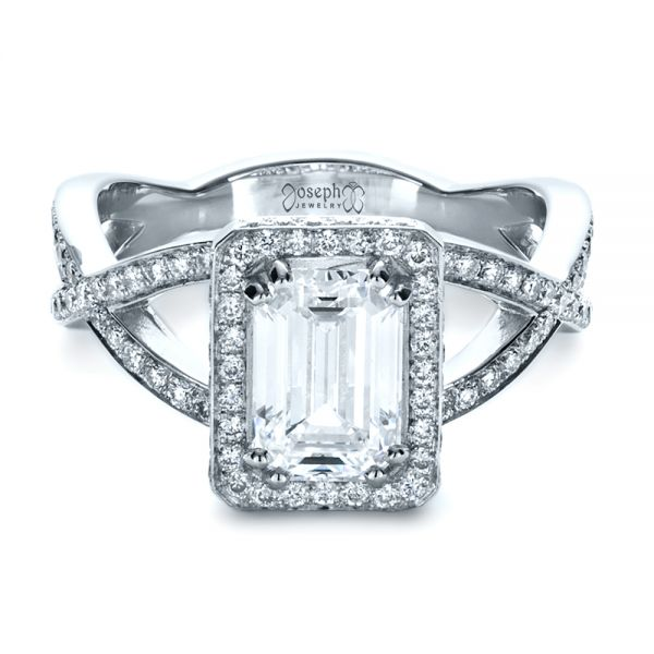 Custom Diamond Engagement Ring - Flat View -  1159 - Thumbnail