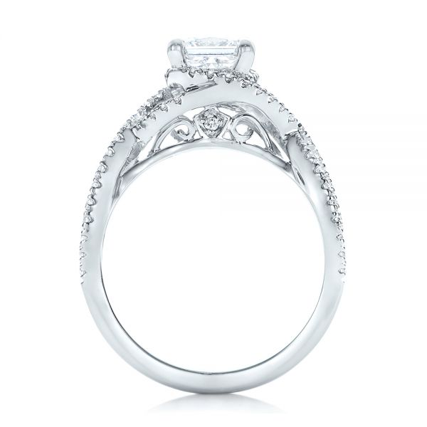 14k White Gold Custom Diamond Engagement Ring - Front View -  102148