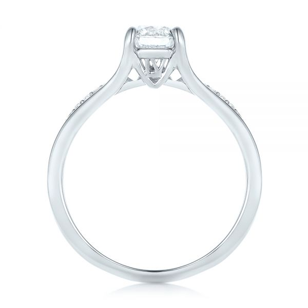 18k White Gold Custom Diamond Engagement Ring - Front View -