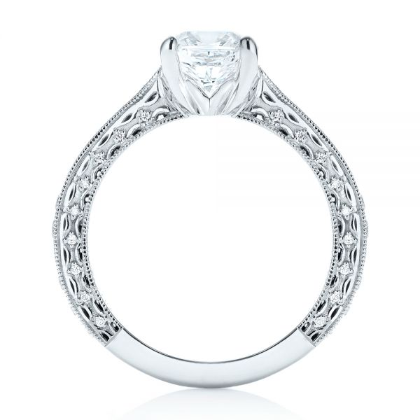 18k White Gold Custom Diamond Engagement Ring - Front View -  103303