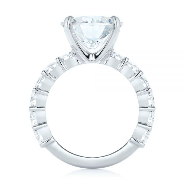 14k White Gold Custom Diamond Engagement Ring - Front View -