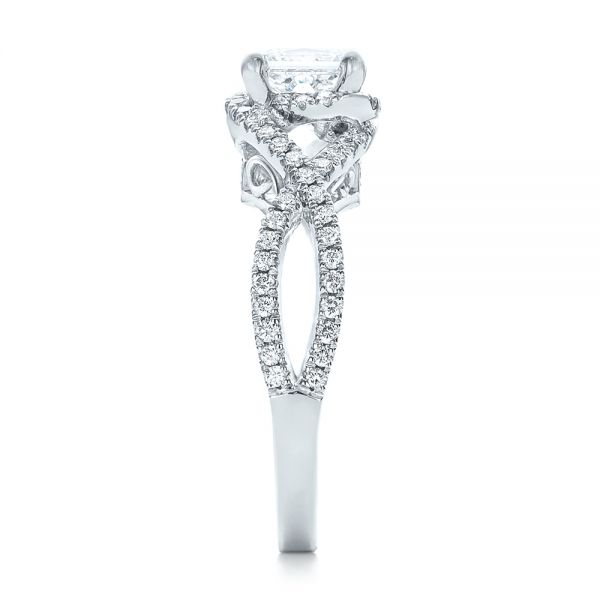 14k White Gold Custom Diamond Engagement Ring - Side View -  102148