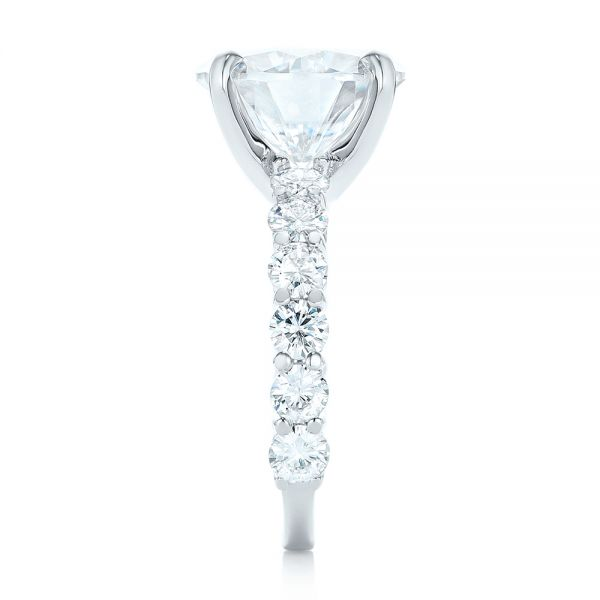 14k White Gold Custom Diamond Engagement Ring - Side View -