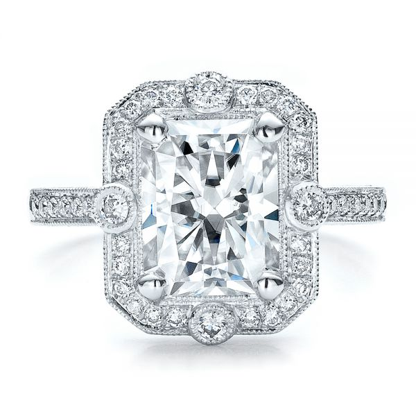Custom Diamond Engagement Ring - Top View -  100091 - Thumbnail