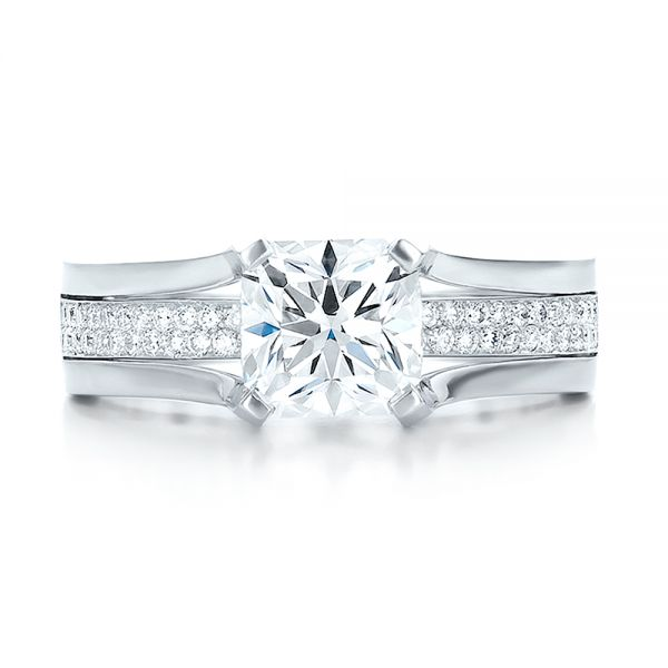 Custom Diamond Engagement Ring - Top View -  100610 - Thumbnail