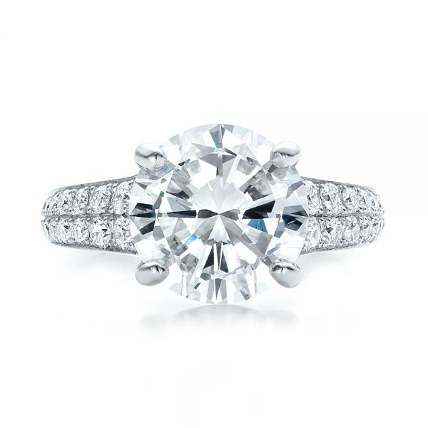 Custom Diamond Engagement Ring - Top View -  100872 - Thumbnail
