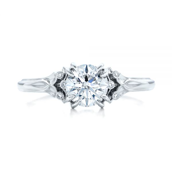 Platinum Platinum Custom Diamond Engagement Ring - Top View -