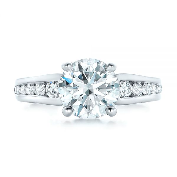 Custom Diamond Engagement Ring - Top View -  102218 - Thumbnail