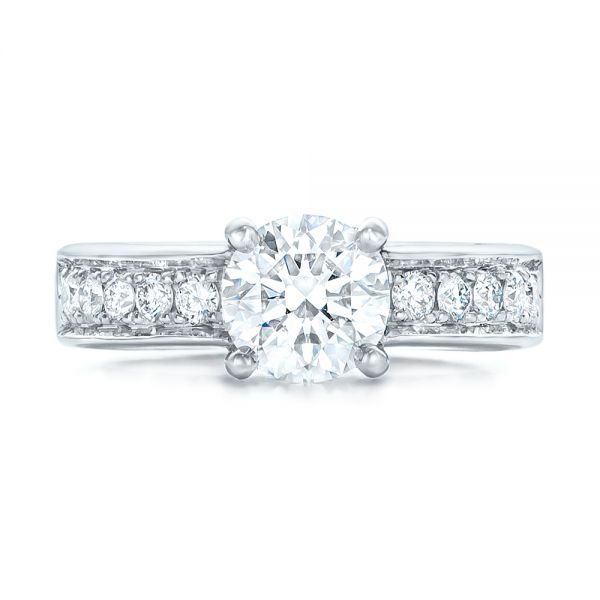 Custom Diamond Engagement Ring - Top View -  102345 - Thumbnail