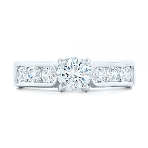 Custom Diamond Engagement Ring - Top View -  102470 - Thumbnail