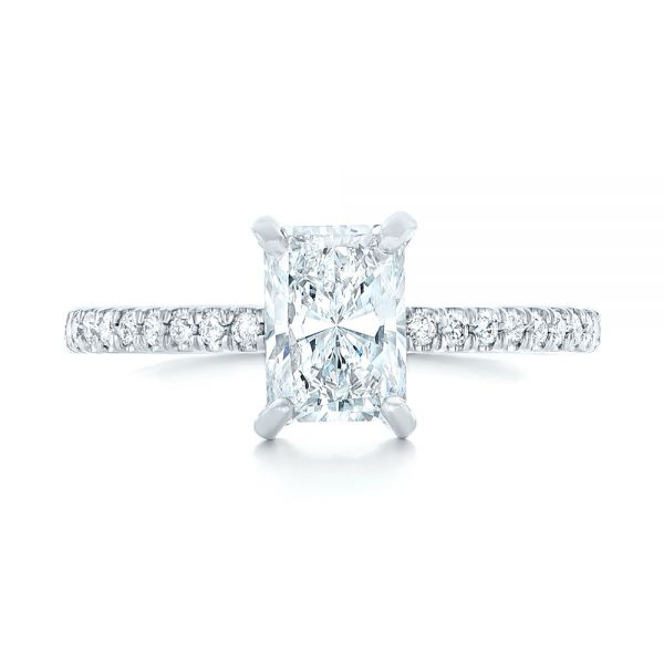 18k White Gold 18k White Gold Custom Diamond Engagement Ring - Top View -
