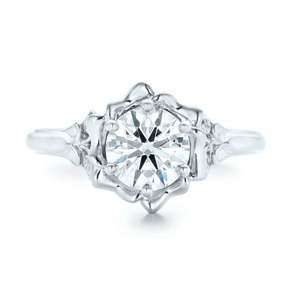 Platinum Custom Diamond Engagement Ring - Top View -  102896