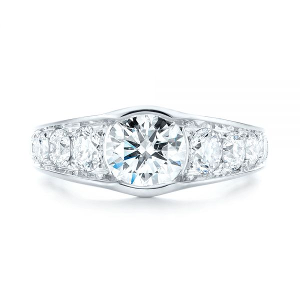 18k White Gold Custom Diamond Engagement Ring - Top View -