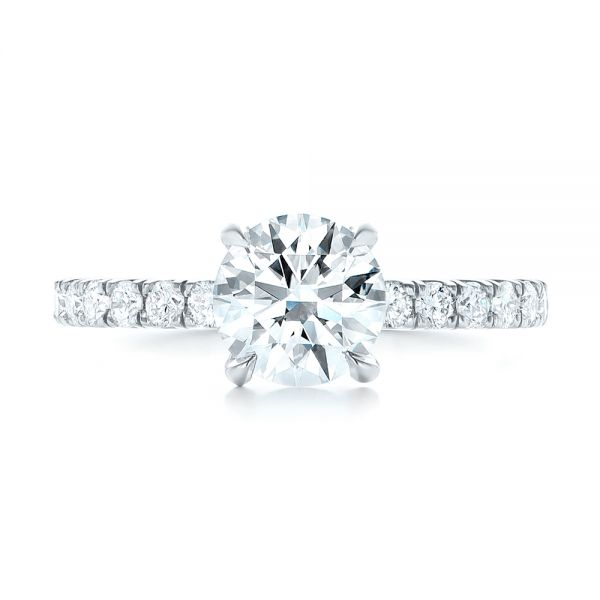 Custom Diamond Engagement Ring - Top View -  103235 - Thumbnail