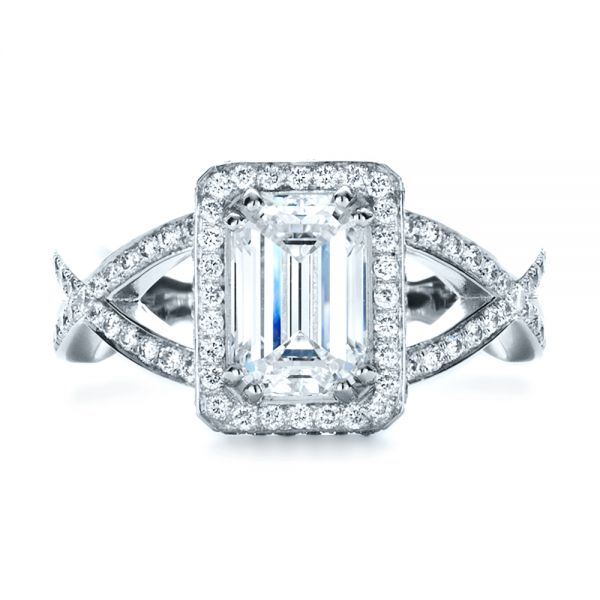 Custom Diamond Engagement Ring - Top View -  1159 - Thumbnail
