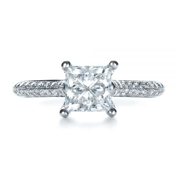 Platinum Custom Diamond Engagement Ring - Top View -