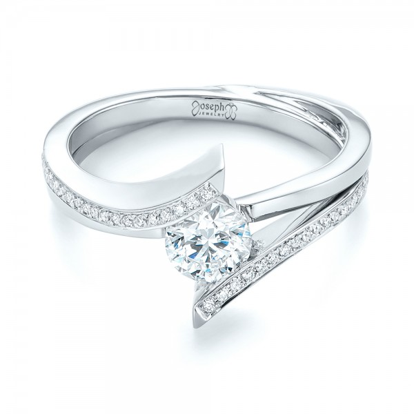 Custom Tension Style Diamond Engagement Ring - Laying View