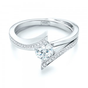 Custom Tension Style Diamond Engagement Ring