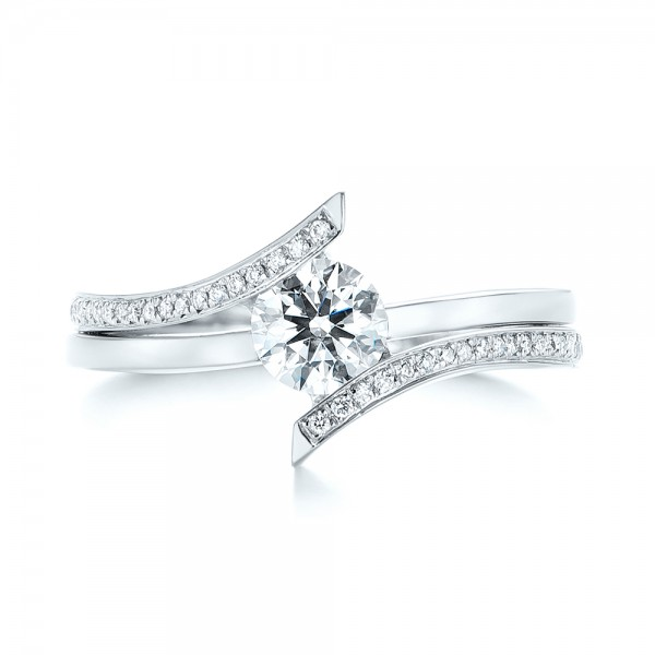 Custom Tension Style Diamond Engagement Ring - Top View