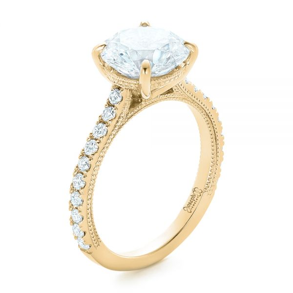 14k Yellow Gold 14k Yellow Gold Custom Diamond Engagement Ring - Three-Quarter View -