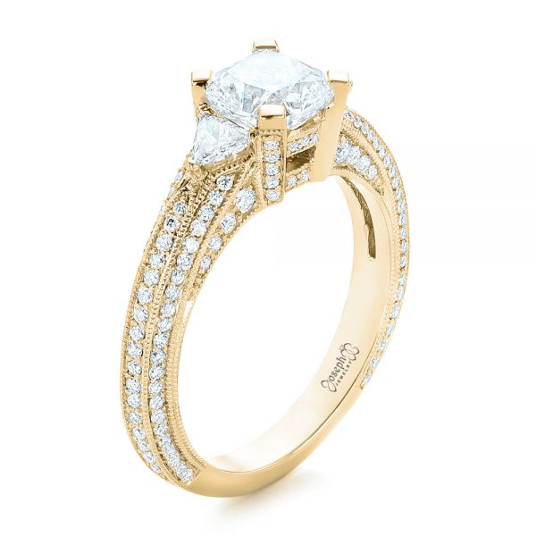 14k Yellow Gold 14k Yellow Gold Custom Diamond Engagement Ring - Three-Quarter View -  102457