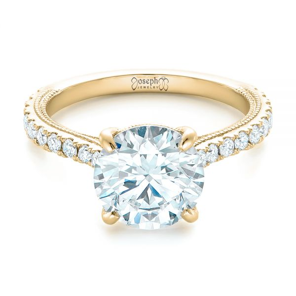 14k Yellow Gold 14k Yellow Gold Custom Diamond Engagement Ring - Flat View -