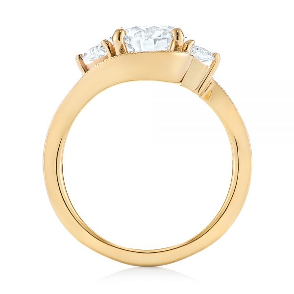 14k Yellow Gold Custom Diamond Engagement Ring - Front View -  104262
