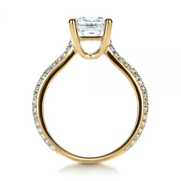 18k Yellow Gold 18k Yellow Gold Custom Diamond Engagement Ring - Front View -