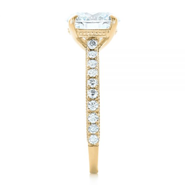 14k Yellow Gold 14k Yellow Gold Custom Diamond Engagement Ring - Side View -