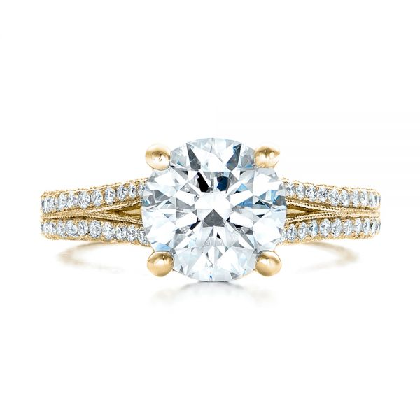 14k Yellow Gold 14k Yellow Gold Custom Diamond Engagement Ring - Top View -
