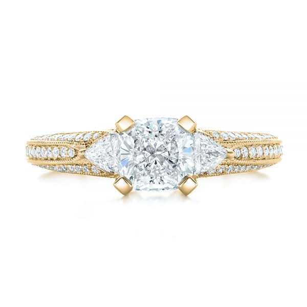 14k Yellow Gold 14k Yellow Gold Custom Diamond Engagement Ring - Top View -  102457