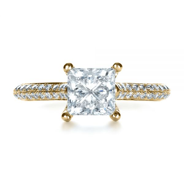 18k Yellow Gold 18k Yellow Gold Custom Diamond Engagement Ring - Top View -