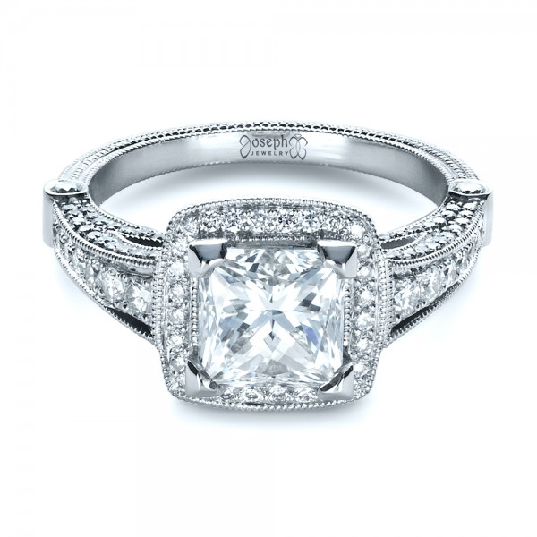 Custom Diamond Engagement Ring - Flat View -  1416 - Thumbnail