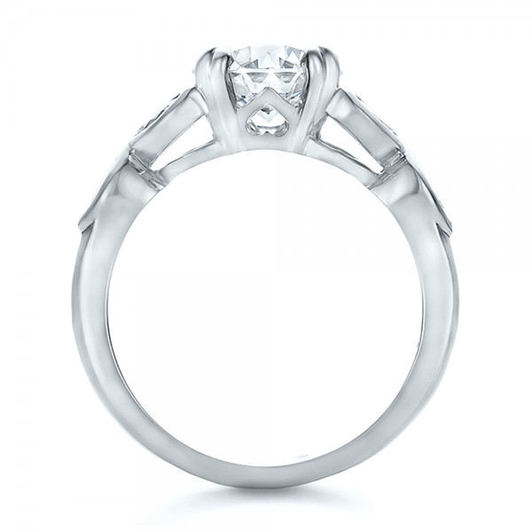 Custom Marquise Diamond Engagement Ring - Finger Through View