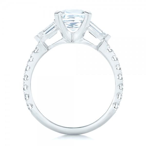 Custom White Sapphire and Diamond Engagement Ring - Finger Through View
