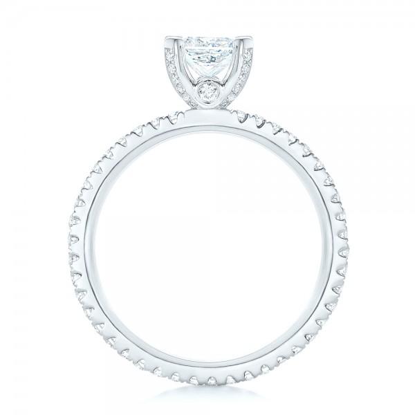 Custom Diamond Eternity Engagement Ring - Finger Through View