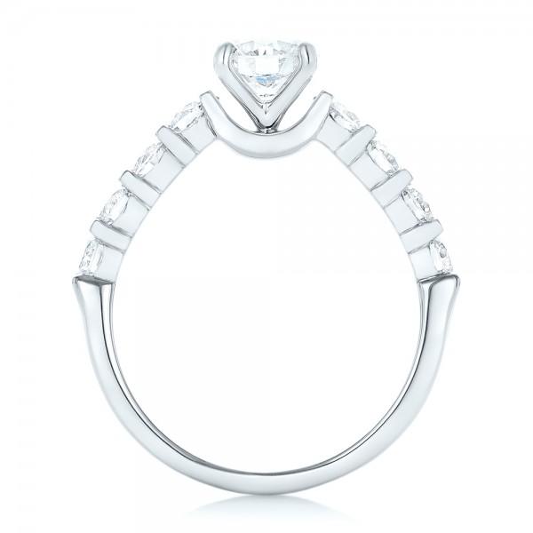 Custom Diamond Engagement Ring - Finger Through View