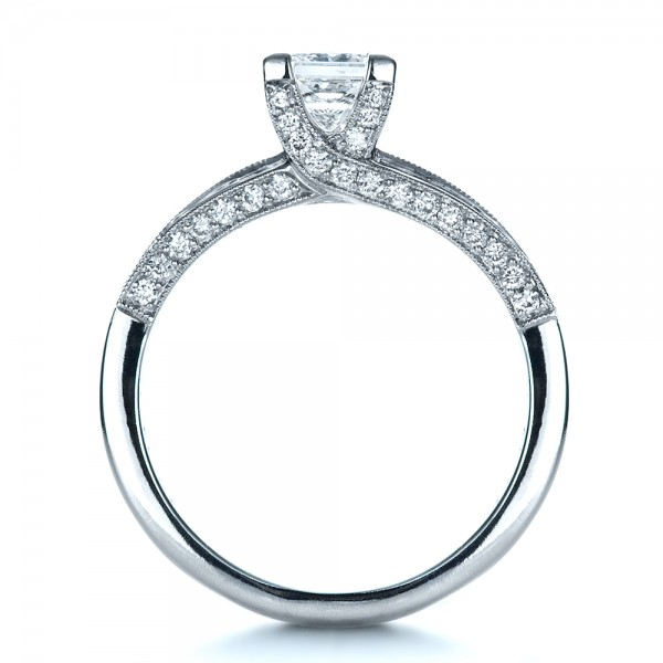 Custom Diamond Engagement Ring - Finger Through View