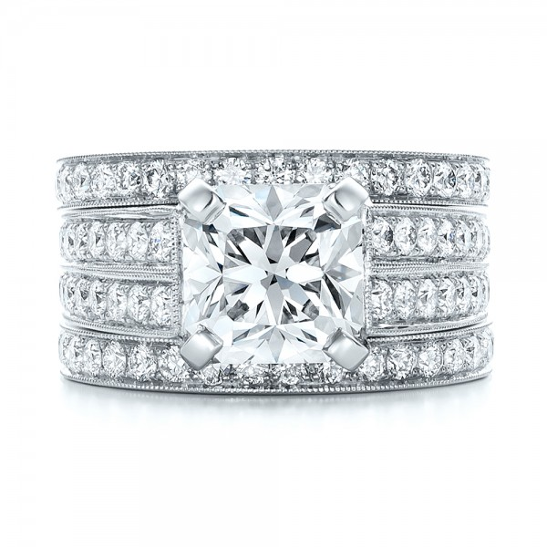 Custom Diamond Engagement Ring - Top View -  102042 - Thumbnail