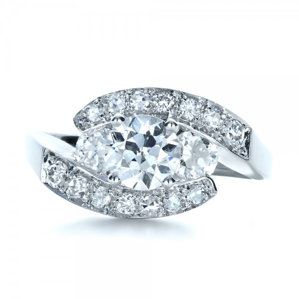 Custom Diamond Engagement Ring - Top View -  1302 - Thumbnail