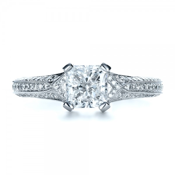 Custom Diamond Engagement Ring - Top View -  1410 - Thumbnail