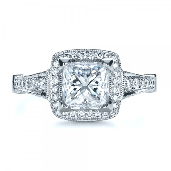 Custom Diamond Engagement Ring - Top View -  1416 - Thumbnail